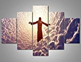 Artwork for Walls Canvas Jesus Christ Prays Pictures Cultural Religion Modern Artwork Black and White Painting 5 Piece Home Decor for Living Room Giclee,Framed Stretched Ready to Hang(60''Wx40''H)