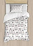 Ambesonne Penguin Twin Size Duvet Cover Set, Doodle Style Cartoon Animals from Antarctica with Crowns on a Dotted Background, Decorative 2 Piece Bedding Set with 1 Pillow Sham, Multicolor