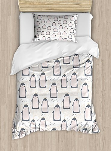 Ambesonne Penguin Twin Size Duvet Cover Set, Doodle Style Cartoon Animals from Antarctica with Crowns on a Dotted Background, Decorative 2 Piece Bedding Set with 1 Pillow Sham, Multicolor by Ambesonne