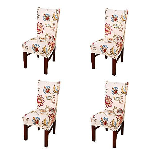 SoulFeel Set of 4 x Stretchable Dining Chair Covers, Spandex Chair Seat Protector Slipcovers for Holiday Banquet, Home Party, Hotel, Wedding Ceremony (Style 34, Floral) (Floral Chair Slipcover)
