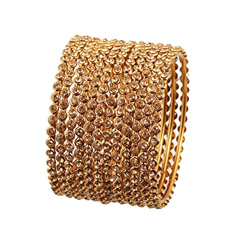 Touchstone Golden Bangle Collection Yellow Rhinestone Traditional Single Line Stunning Indian Bollywood Designer Jewelry Metal Bangle Bracelets In Antique Gold Tone For Women. Set Of 12. Bangle Yellow Jewelry Set