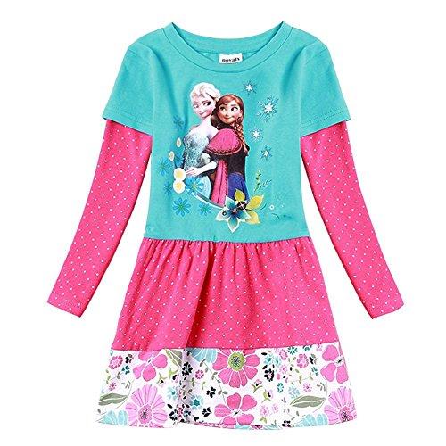 Coralup Frozen cartoon baby girls skirt autumn cotton Long sleeve dress, 18-24 Months, NB018 (Toddler Frozen Dress)