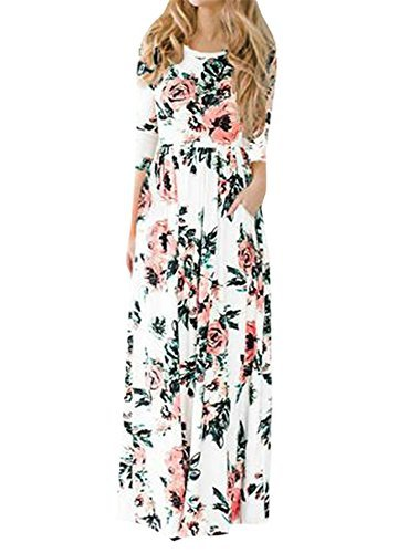 Pxmoda-Womens-Spring-Fashion-Printed-Long-Dress-Three-Quarter-Sleeve-Empire-Flower-Floor-length-Dress