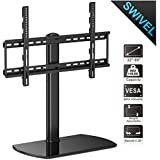 Fitueyes Universal Table Top TV Stand for 32 to 65 inch TVs with +/- 35 Degree Swivel, Height Adjustable Stands with 4.7 inch Adjustment,Tempered Glass Base,Hold up to 110lbs TVs TT107002GB