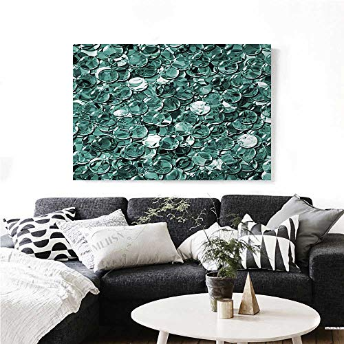 Pearls Canvas Wall Art Crystal Clear Balls Coins Pattern Never Ending Liquid Objects Monochrome Design Print Print Paintings for Home Wall Office Decor 32