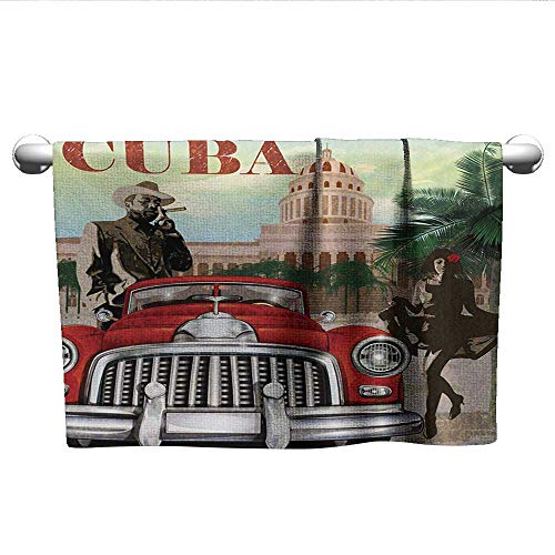 - alisoso Cuba,Camping Towels Country Tourism Advertisement Theme Vintage Design Cigar Smoking Man and Dancing Girl Decorative Towels Multicolor W 35