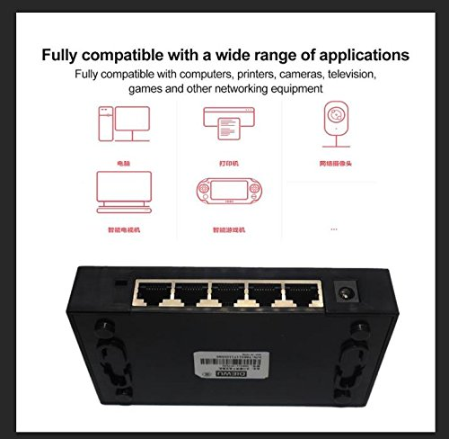 5 Ports Portas Gigabit Mini Network Switch 1000Mbps Ethernet Smart Switcher High Performance with US Power Supply Adapter by xqjtech (Image #1)