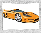 asddcdfdd Cars Tapestry, Orange Sports Car Fast Racing Roadster Modern Automotive Technology, Wall Hanging for Bedroom Living Room Dorm, 80 W X 60 L Inches, Pale Orange Black Silver