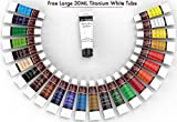 Acrylic Paint Set For Canvas - Extra Large White Tube And 24 Colors For Crafts Wood Ceramic Glass Clay Nails & Fabric