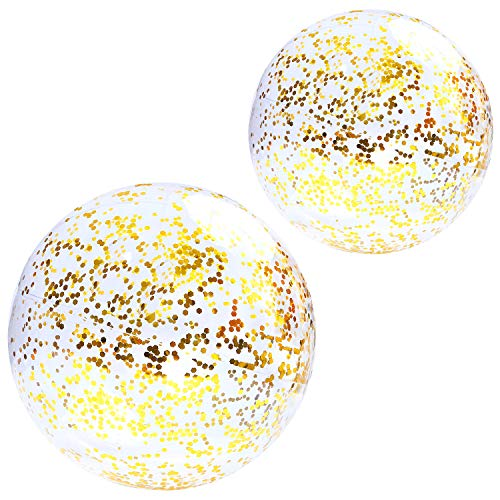 - Elcoho 2 Pack Glitter Beach Ball Confetti Parties Beach Balls Pool Water Toys Gold for Summer Parties