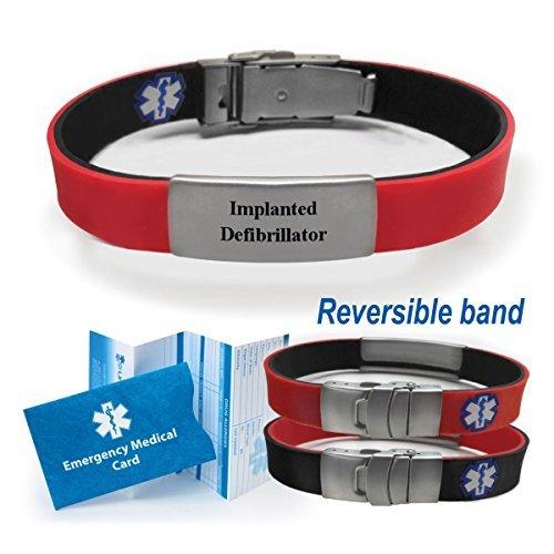 IMPLANTED DEFIBRILLATOR Sport/Slim Reversible Medical Alert Identification Bracelet - Black / Red. Choose from Diabetes, Blood Thinners, Seizures, Pacemaker more... by Universal Medical Data