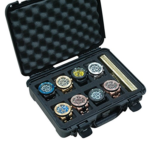 Case Club Waterproof 8 Watch Travel Case with Accessory - Rectangle Case Watch