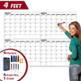 Large Dry Erase Wall Calendar - 36' x 48' Inch Reusable Double Sided Monthly & Weekly Planner - Deadline and Task Organizer for Home, Dorm, Office & Classroom Decoration - with Markers, Tacks & Eraser