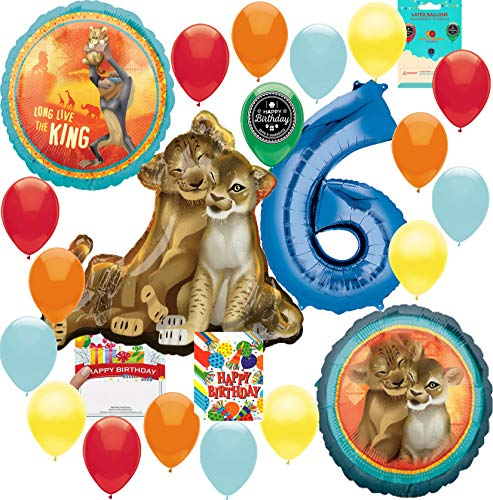 Lion King Party Supplies 6th Birthday Balloon Decoration Supply Bundle with Happy Birthday Card and 8 Treat Bags]()
