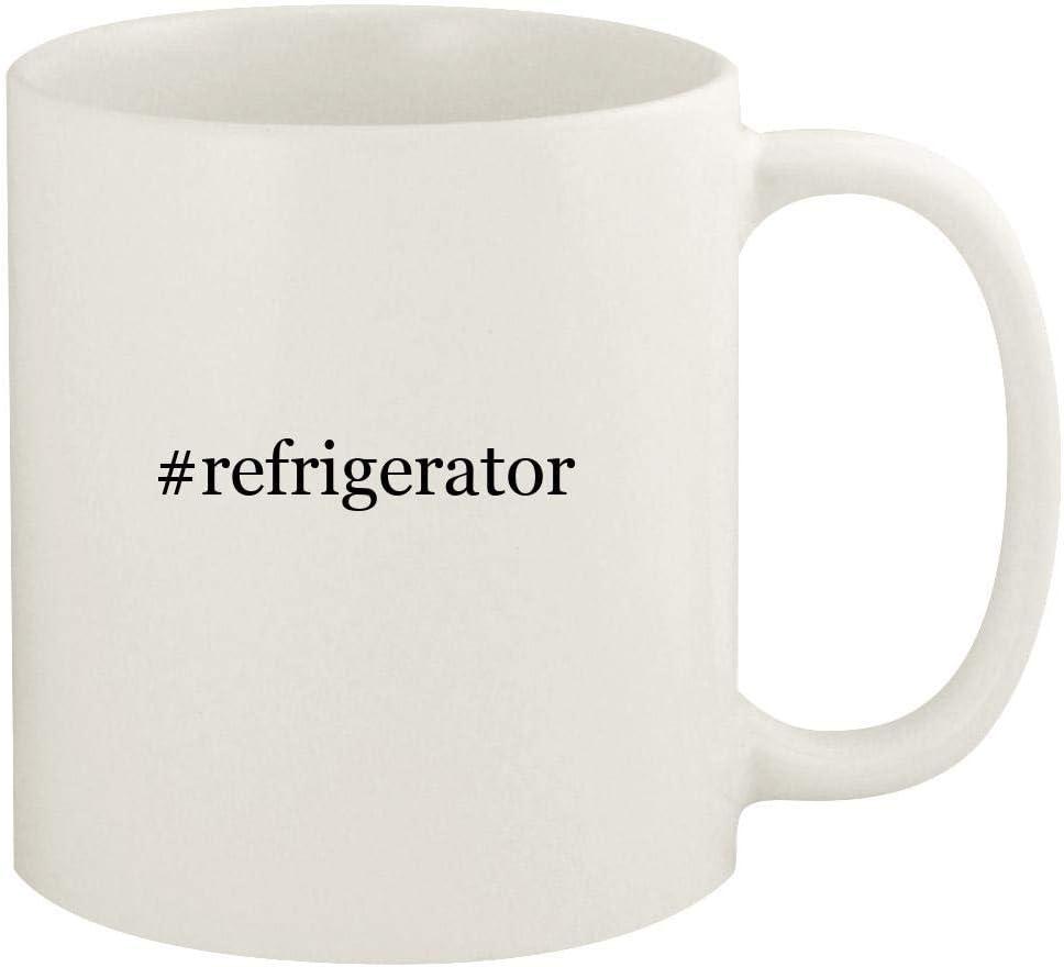 #refrigerator - 11oz Hashtag Ceramic White Coffee Mug Cup, White
