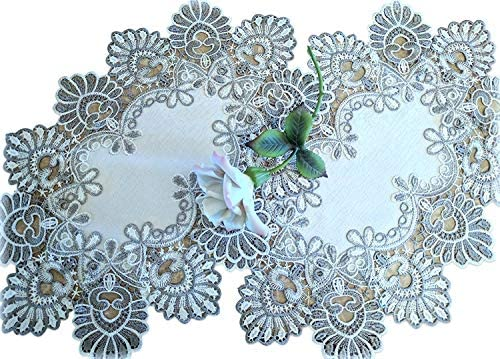 Galleria di Giovanni Doilies Silver Gray Lace Set of Two Antique White Oval Dresser Scarf