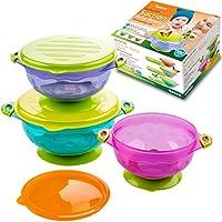 Los mejores tazones para bebés de succión para niños pequeños y de 6 meses Alimentación sólida - 3 Tamaño Manténgase a prueba de derrames Apilable para llevar Bocadillos y almacenamiento-Con 3 sellos-Tapas ajustadas fáciles-BPA Conjunto de regalo para la