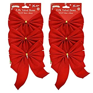 Set of (#) Red Velvet Festive Holiday Christmas Bows - Perfect as Tree Ornaments - Tree Filler - Decorative Ornaments - Perfect for Preparing for the Holidays! 3