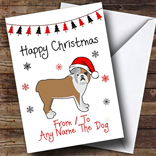 Pet Christmas Cards Personalized - Bulldog From Or To The Dog Pet Personalized Christmas Holiday Greetings Card