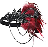 BABEYOND 1920s Flapper Headband Roaring 20s Great Gatsby Headpiece Feather Headband 1920s Flapper Gatsby Hair Accessories for Party Prom (Black and Red)