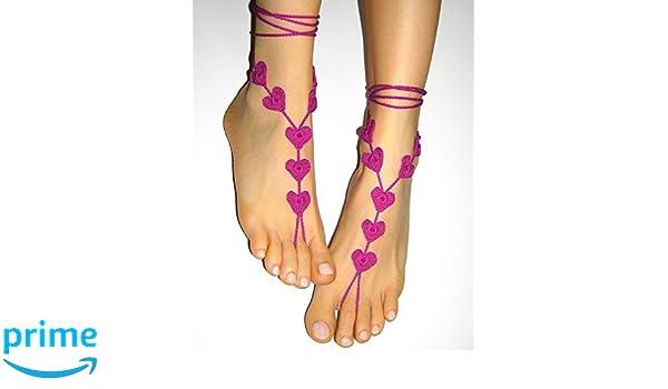 18d36ccb8b4d2 Amazon.com: Fuchsia Pink Anklet Beach wedding Barefoot Sandals ...