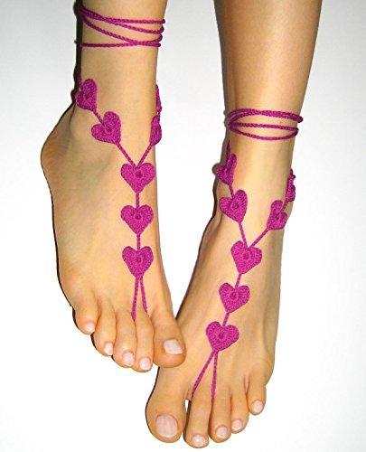 Fuchsia Crochet - Fuchsia Pink Anklet Beach wedding Barefoot Sandals, Purple Foot Jewelry