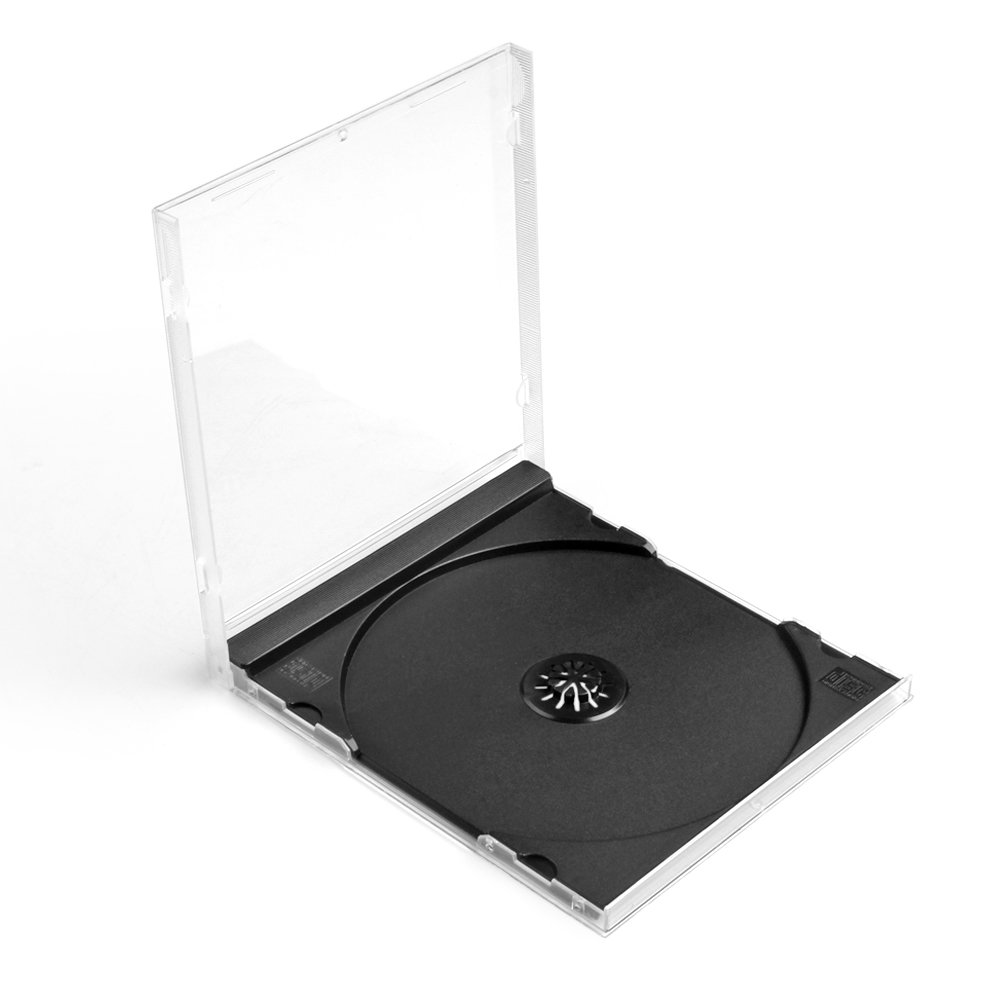 Flexzion CD Jewel Cases 100 Pack 10mm Thick Standard Single Clear DVD Movie Music Blu-ray Disc Media Storage Boxes Collectible Holder Organizer with Black Tray