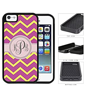 Pink And Yellow Chevron Monogram (Custom Initials) 2-Piece Dual Layer High Impact Rubber Silicone Cell Phone Case Apple iPhone 5 5s