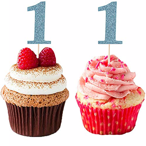 DIYxin Glitter 1st First Birthday Cupcake Toppers, 24 Pcs Baby Party Cake Toppers ()