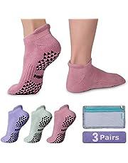 Hylaea Unisex Non Slip Grip Socks for Yoga, Hospital, Pilates, Barre | Ankle, Cushioned