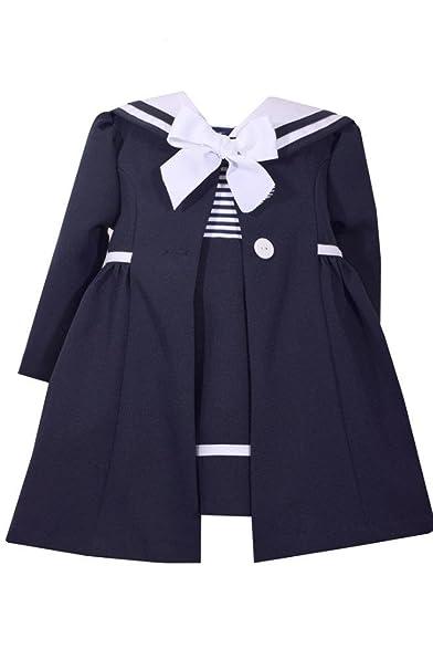 Victorian Kids Costumes & Shoes- Girls, Boys, Baby, Toddler Bonnie Jean Navy Blue Sailor Dress & Coat Set $39.99 AT vintagedancer.com