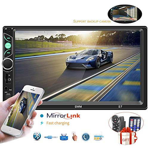 Car Stereo with Bluetooth 7 Inch Touch Screen Double Din Car Stereo with Backup Camera and Steering Wheel Control Support Autoradio FM AUX USB SD Dual System Mirror Link
