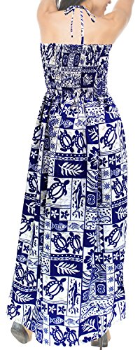 Maxi Mujeres LEELA Halter Likre de Las LA h273 Tubo Suave Corte Ropa de Largo Playa Azul Vestido Largo Encubrir q4SBSfWa