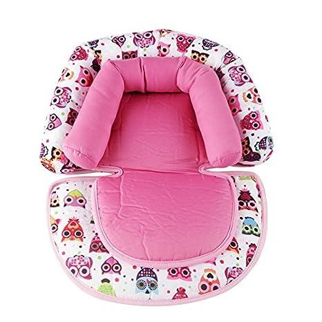 Kakiblin - Cojín de apoyo para el cuello de la cabeza suave para asiento de coche, cochecito, portabebés. rosa rosa