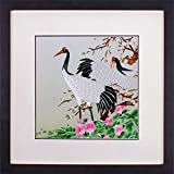 SILK ART Pure Handmade Embroidery Modern Artwork Hanging Wall Decor Handcraft Ornamental Art Painting New Home Wedding Anniversary Gifs Two Japanese Red Crowned Cranes With Pink Flowers framed SXH018B
