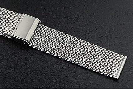 correas de reloj Milanese sólida malla metálica de 18 mm de gama alta clásico para relojes de pulsera de lujo bucle de cota de malla de los hombres de las ...