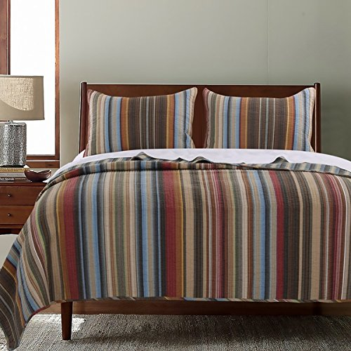 3 Piece Brown Tan Red Stripe Southwest Bedding Full Queen...