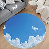 Nalahome Modern Flannel Microfiber Non-Slip Machine Washable Round Area Rug-on Cloud Frame Skylight to Clear Sky Sunny Day Decorative Nature Picture Scene White Blue Area Rugs Home Decor-Round 59''