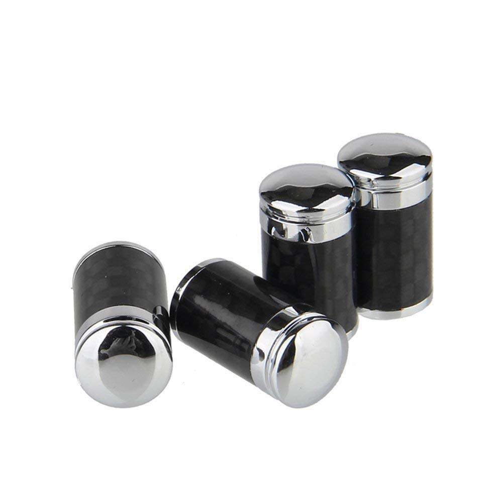 AeroDesigns Carbon Fiber Valve Stem Cap Cover -Hot Ride- Chrome Carbon Black Steel Pressure Valve Stems Caps Universal Fits ALL Cars Trucks SUV Bike & Bicycle ( Fit All Factory / OEM / Racing Wheels ) by Hot Ride / AeroDesigns
