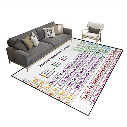 Rug Primary Hopscotch (Floor Mat,Chemistry Primary School Students Geek Nerd Lessons Classes Smart Kids Art Print,3D Printing Area Rug,MulticolorSize:6'6