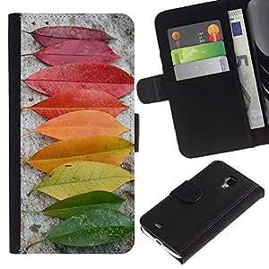 KingStore / Leather Etui en cuir / Samsung Galaxy S4 Mini i9190 / Autumn Rainbow Verde Amarillo Rojo Naturaleza