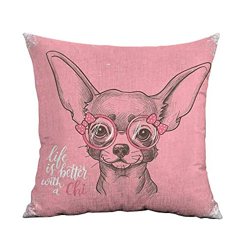 Dog Microfiber Girl Chihuahua Sketch Illustration with Quote Fashion Glasses Ribbons Puppy Sofa Cushion Cover Bedroom car Decoration W24 x L24 Inch Pale Pink Army Green ()