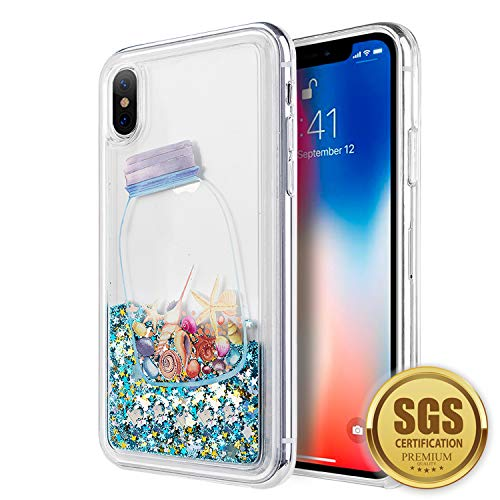 SumacLife Protective, Sparkling Waterfall Skin for Apple iPhone X - Blue Seashells
