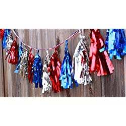 Election Decorations Patriotic Metallic Garland on (16 Tassels Per Package) Red White Blue 8 ft Ribbon, Pre-Assembled Party Décor 4th of July Memorial Day Banner Primary Military Ceremony