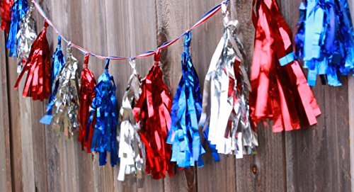 Election Decorations Patriotic Metallic Garland on (16 Tassels Per Package) Red White Blue 8 ft Ribbon, Pre-Assembled Party Décor 4th of July Memorial Day Banner Primary Military -