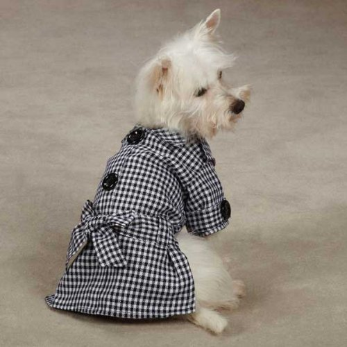 East Side Collection Polyester First Lady Gingham Dog Trench Coat, Small, 12-Inch, Black, My Pet Supplies