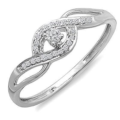 0.15 Carat (ctw) 10k Gold Round Cut Diamond Ladies Criss Cross Engagement Bridal Promise Ring