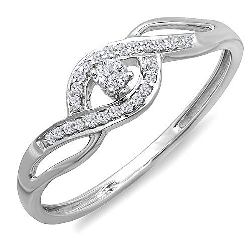 Dazzlingrock Collection 0.15 Carat (ctw) 10k Round Cut Diamond Ladies Engagement Bridal Promise Ring, White Gold, Size 6.5