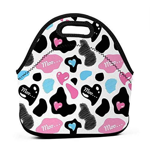 Neoprene Lunch Bag Cow Print,Lovely Cow Hide with Cute Hearts Moo Barnyard Love Abstract Design,Pale Pink Black White,lunch bag for - Lunch Barnyard
