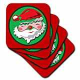 3dRose Sandy Mertens Christmas Designs - Santa Claus Cartoon Face in Circle and Red Background - set of 4 Coasters - Soft (cst_60330_1)